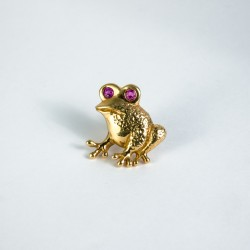 Frosch Pin / Anstecker Gold 750/-